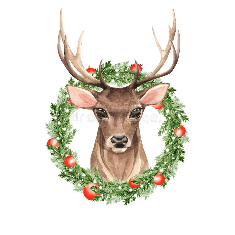 高尚的鹿 圣诞节花圈 额嘴装饰飞行例证图象其纸部分燕子水彩 向量例证