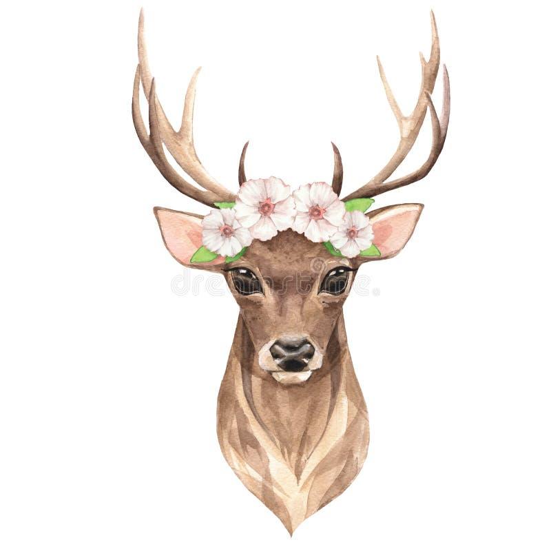 高尚的鹿 额嘴装饰飞行例证图象其纸部分燕子水彩 库存例证