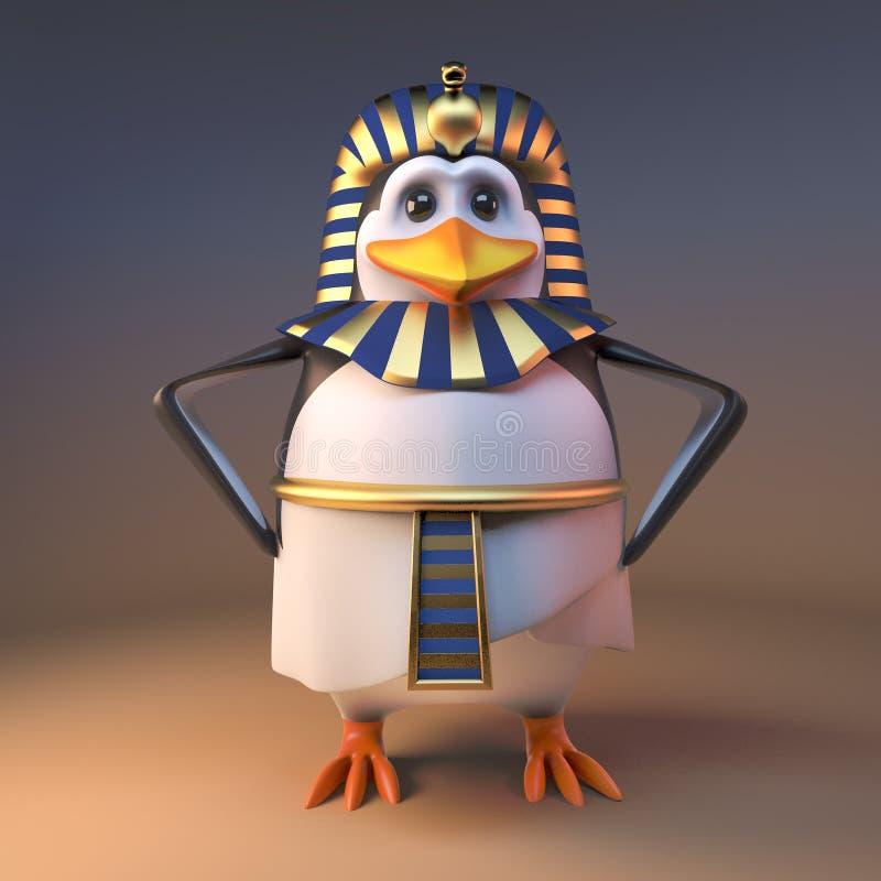 高尚的3d企鹅法老王Tutankhamun站立用在臀部,3d的手例证 库存例证