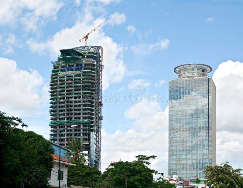 高层建筑物在金边,柬埔寨 免版税库存照片