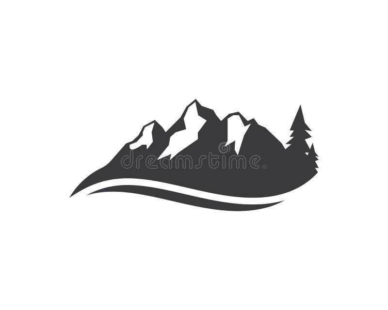 高山冒险模板象商标  库存例证