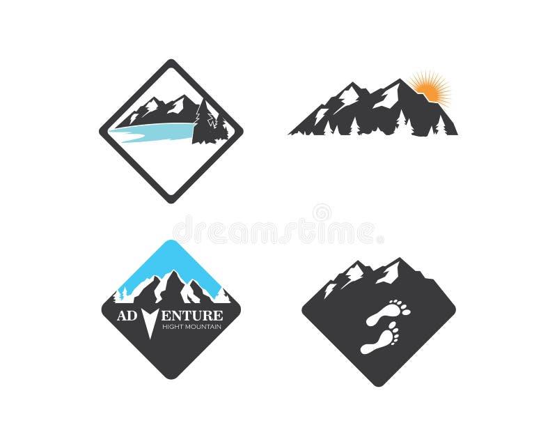高山冒险模板象商标  皇族释放例证