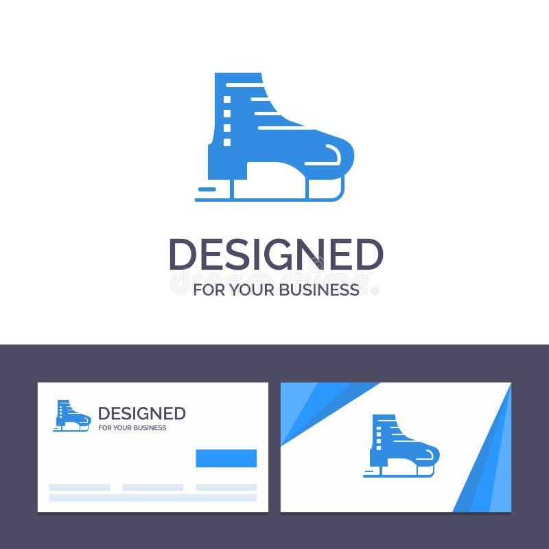 高山创造性的名片和商标的模板,北极,加拿大,滑冰,斯堪的那维亚传染媒介例证 库存例证