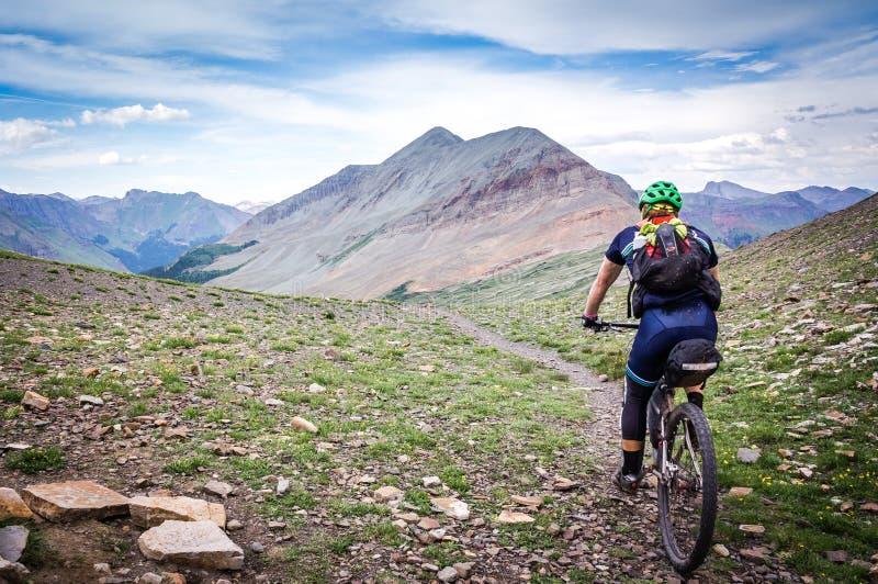 高山单线的山骑自行车的人 库存图片