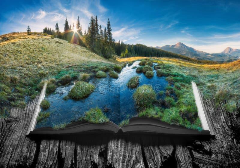 高山山valleyon一本开放书的页 免版税库存照片