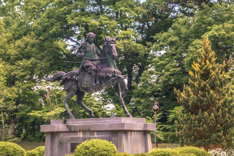 高山市- 2019年5月26日:一个封建主的雕象在高山市,日本 免版税库存照片