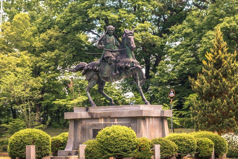 高山市- 2019年5月26日:一个封建主的雕象在高山市,日本 免版税库存图片