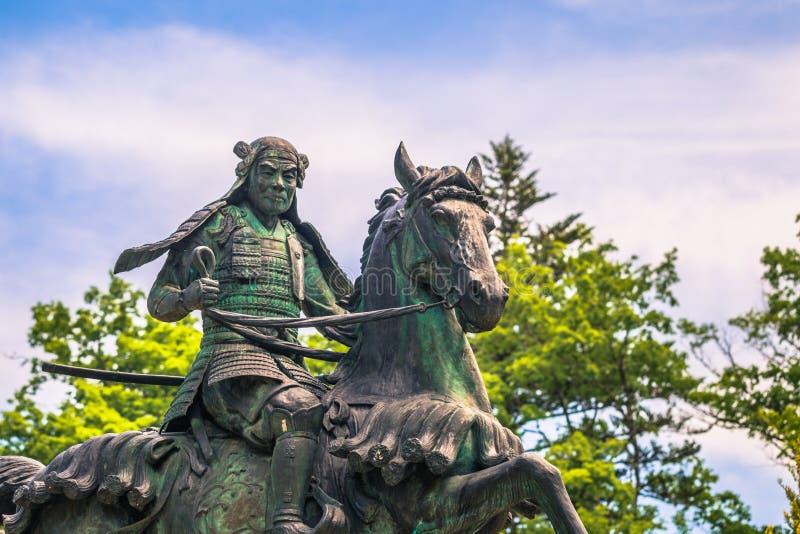 高山市- 2019年5月26日:一个封建主的雕象在高山市,日本 库存图片
