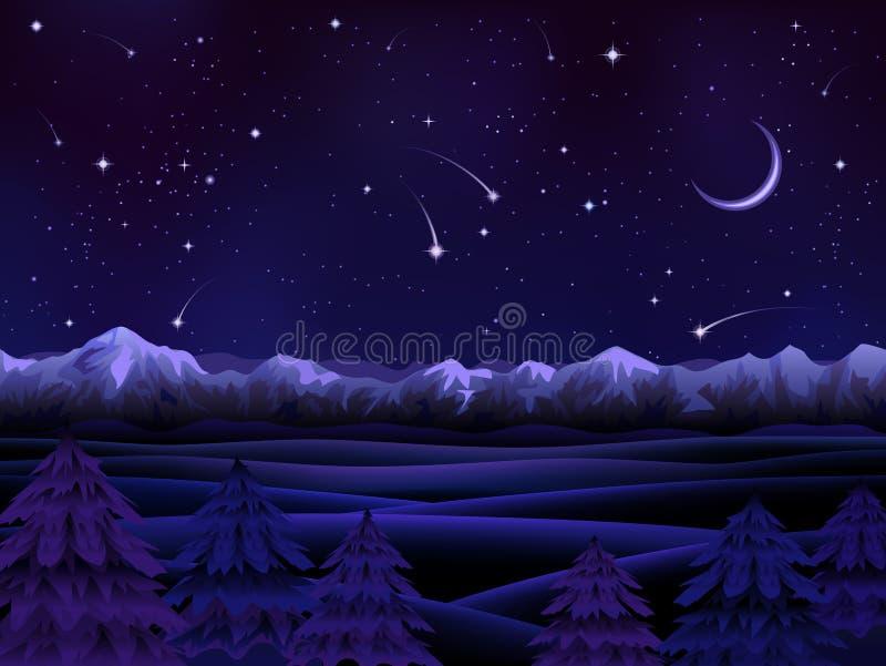高山晚上风景 皇族释放例证