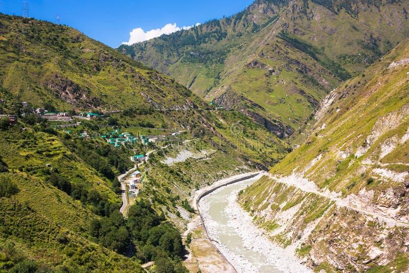 高山村庄在喜马拉雅山 库存图片