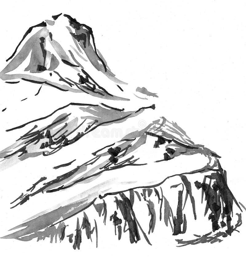 高山横向国画 向量例证