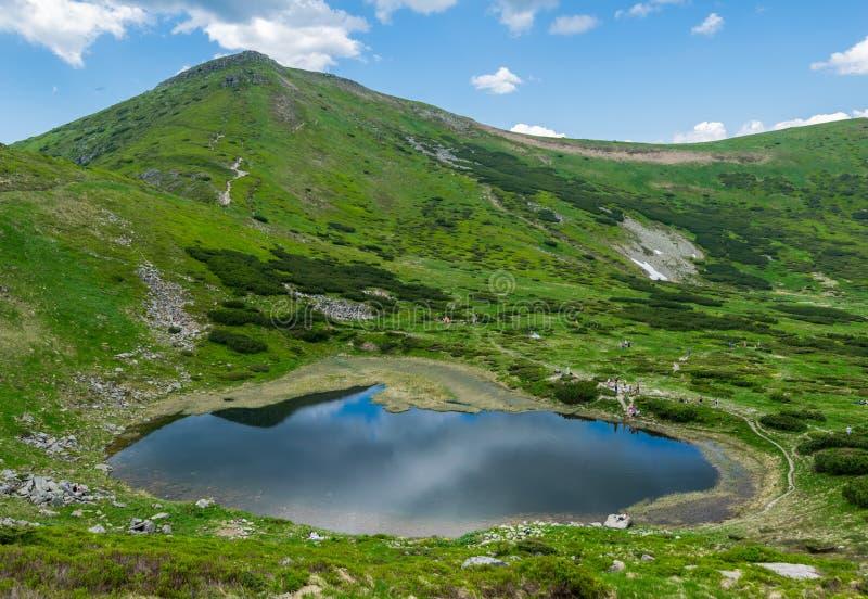 高山湖在乌克兰,全景 免版税库存图片