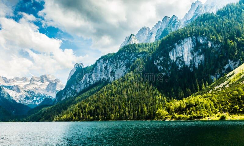 高山湖Gosausee夏天视图,奥地利 库存照片