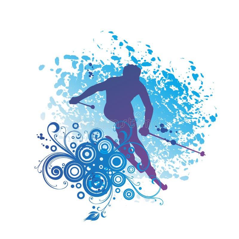 高山滑雪,滑雪者剪影 向量例证