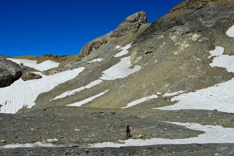 高山的远足者 库存图片