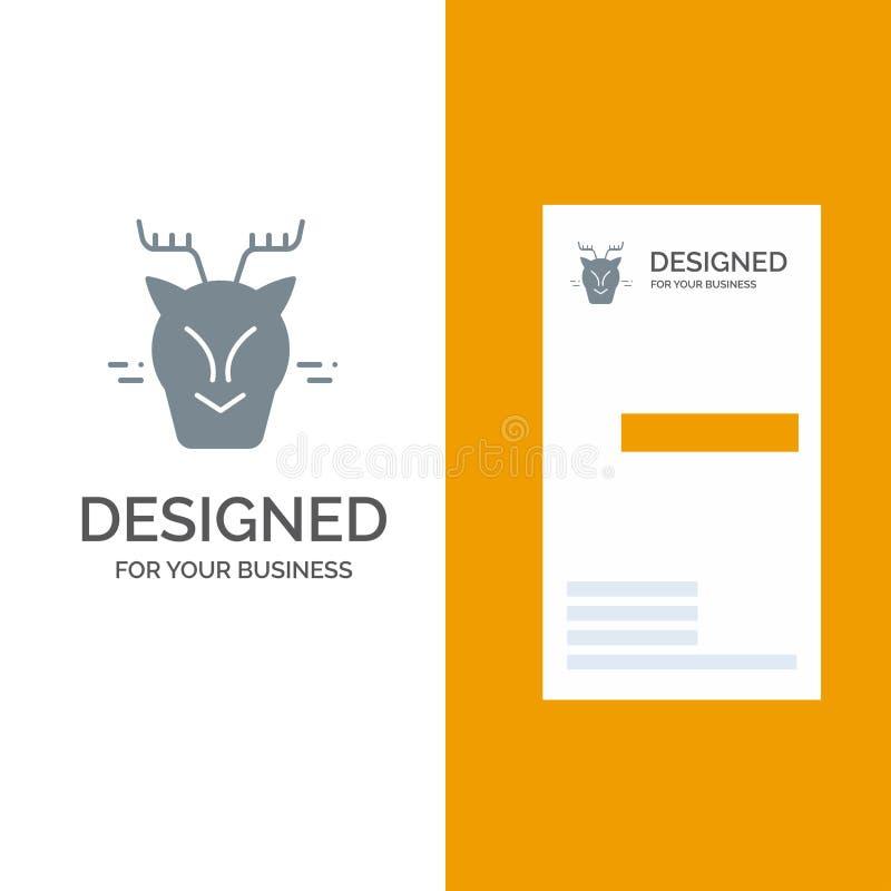 高山,北极,加拿大、驯鹿灰色商标设计和名片模板 向量例证
