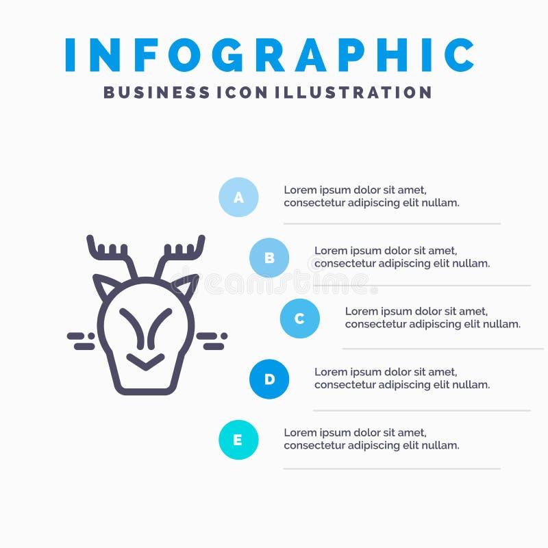 高山,北极,加拿大,驯鹿线象有5步介绍infographics背景 皇族释放例证