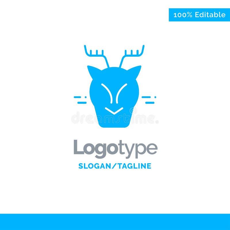高山,北极,加拿大,驯鹿蓝色坚实商标模板 r 向量例证