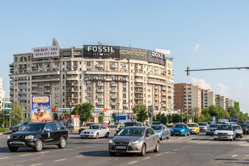 高峰时间在联合广场(Piata Unirii)布加勒斯特 免版税图库摄影