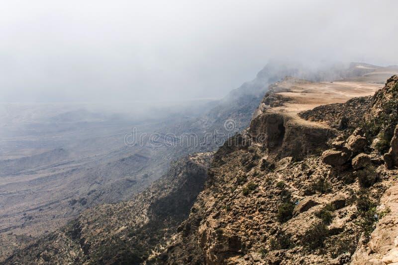高峰Jabal Samhan山观点Dhofar山阿曼 免版税库存图片