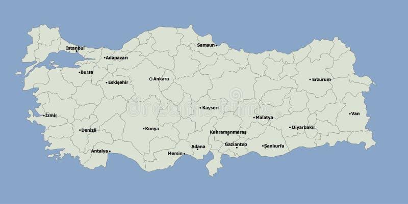 高度与主要城市的详细的政治土耳其地图 向量例证
