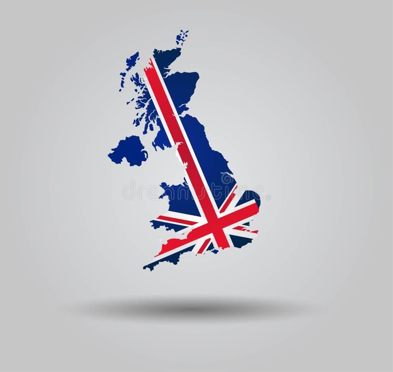 高度与旗子和3D作用-英国的详细的国家剪影 向量例证