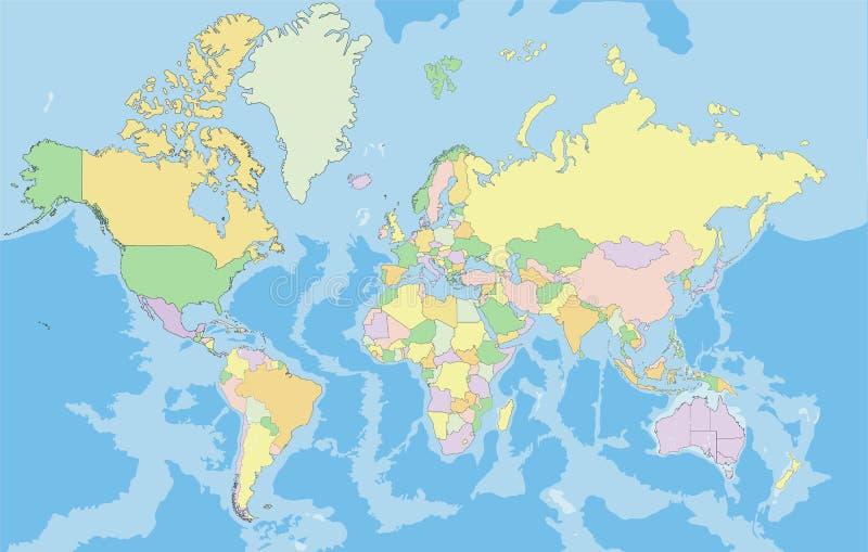 高度世界的详细的政治地图 向量例证