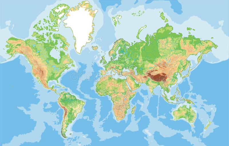 高度世界的详细的物理地图 皇族释放例证