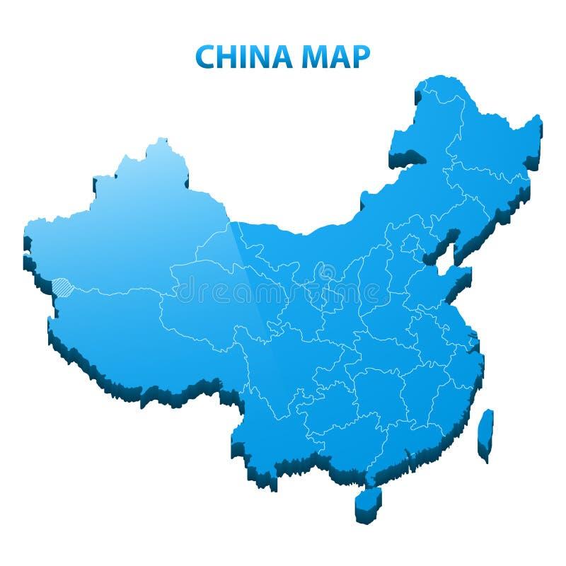高度中国的详细的三维地图有地区边界的 向量例证