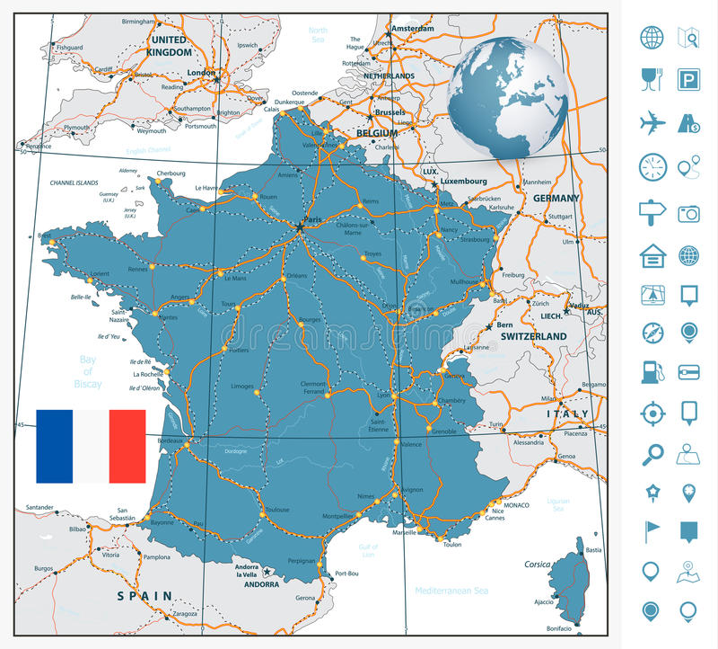 高度法国的详细的路线图有航海标签的 库存例证