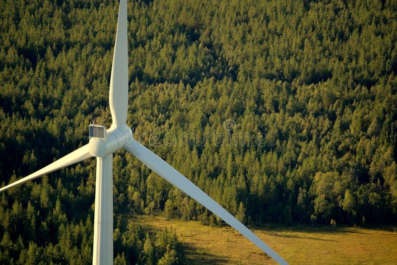 从高度的风轮机在瑞典森林里 库存照片