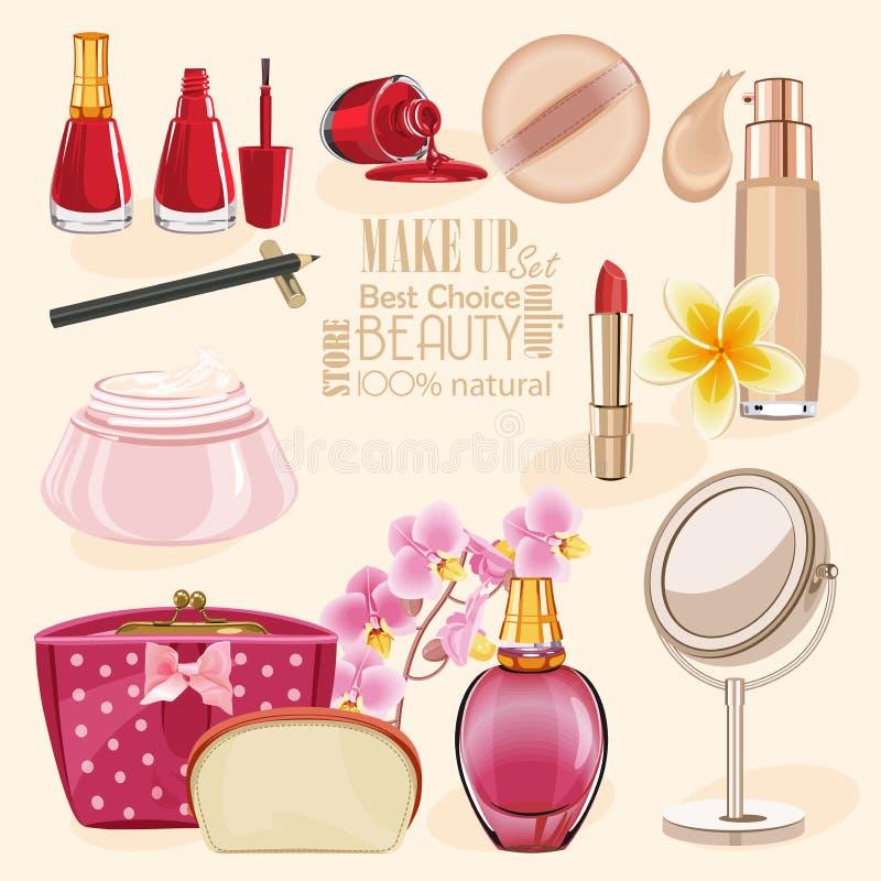 高度被设置的详细的化妆用品象 组成和秀丽标志 库存例证