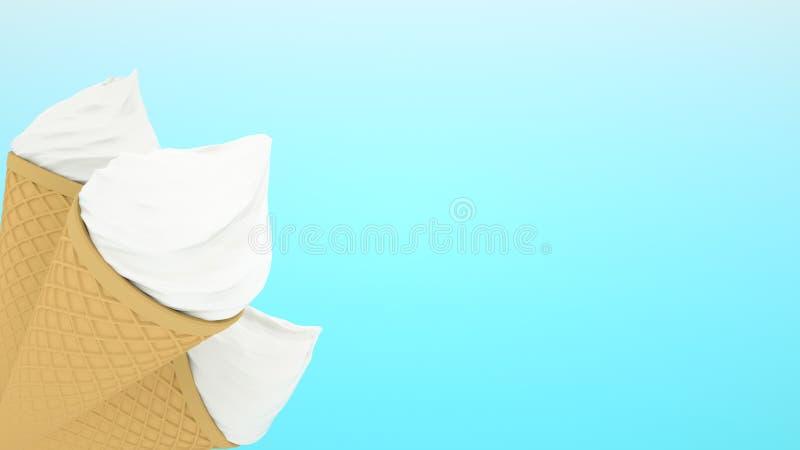 高度详述了在蓝色背景隔绝的奶蛋烘饼锥体的可口三香草冰淇淋 3d?? 免版税图库摄影