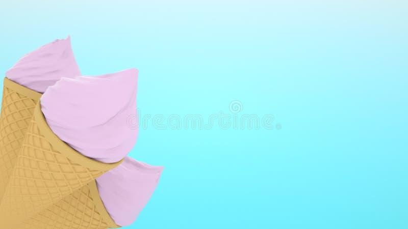 高度详述了在蓝色背景隔绝的奶蛋烘饼锥体的可口草莓冰淇淋 3d?? 图库摄影