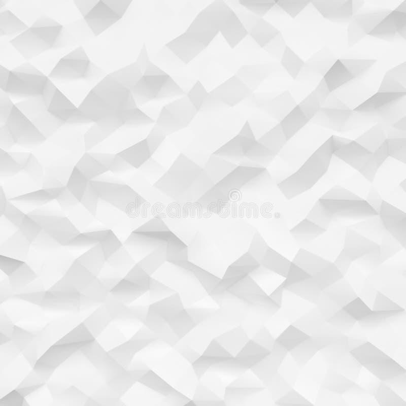 高度详细的多角形照片  白色几何弄皱的三角低多样式 方形的大模型 3d回报 皇族释放例证