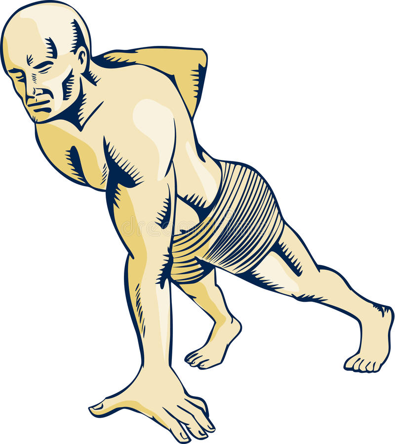 高强度间隔时间训练俯卧撑蚀刻 向量例证