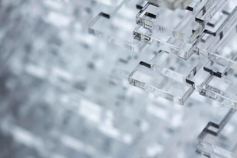 高技术抽象背景 透明塑料或玻璃细节  耐热有机玻璃激光切口  免版税库存照片