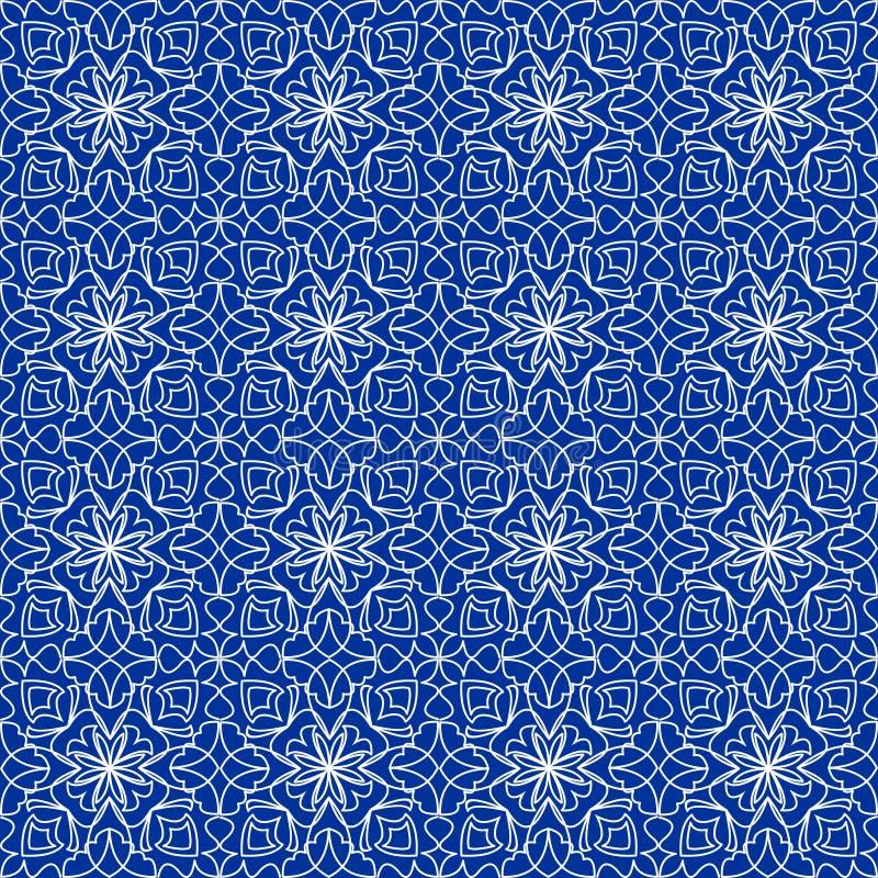 高有金银细丝工的白色装饰品的不同的无缝的背景瓦片在蓝色帆布 葡萄酒在锦缎设计的织品样式 向量例证
