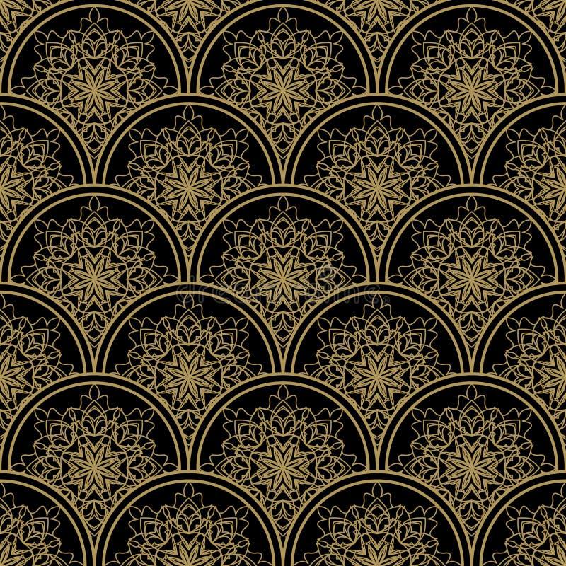 高有金银细丝工的金黄装饰品的不同的无缝的背景瓦片在黑帆布 葡萄酒在锦缎设计的织品样式 向量例证