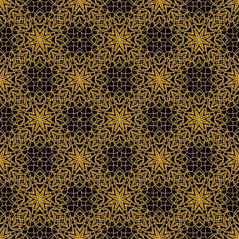 高有金银细丝工的金黄装饰品的不同的无缝的背景瓦片在黑帆布 葡萄酒在锦缎设计的织品样式 皇族释放例证