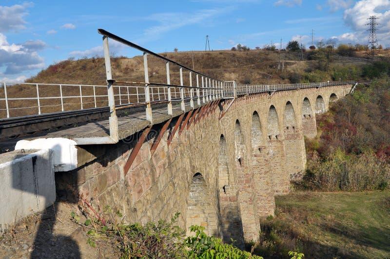 高架桥是乌克兰Terebovlya附近Plebanivka村一座9拱的铁路桥 库存照片