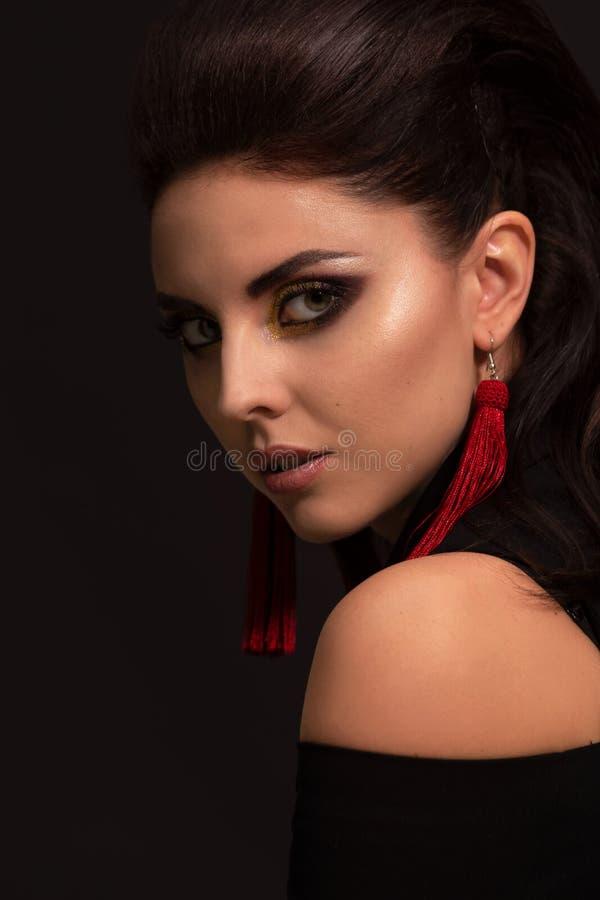 高档时尚华美的魅力夫人画象射击  适用于豪华生活方式设计,构成,时尚,秀丽 艺术光 库存图片