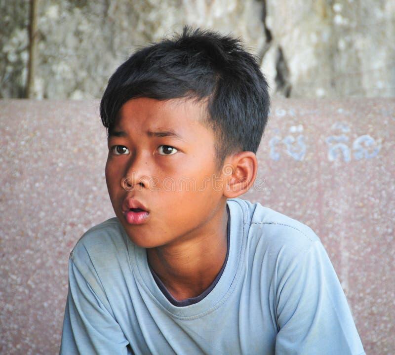 高棉男孩画象在Kep镇,柬埔寨 库存照片