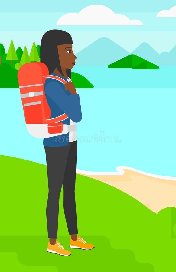 高涨妇女的背包 库存例证