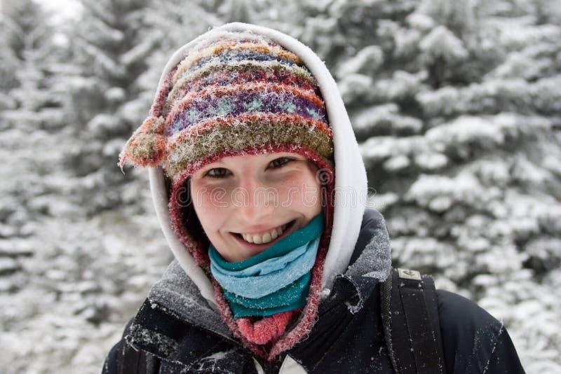 高涨微笑的年轻人的女性 库存照片