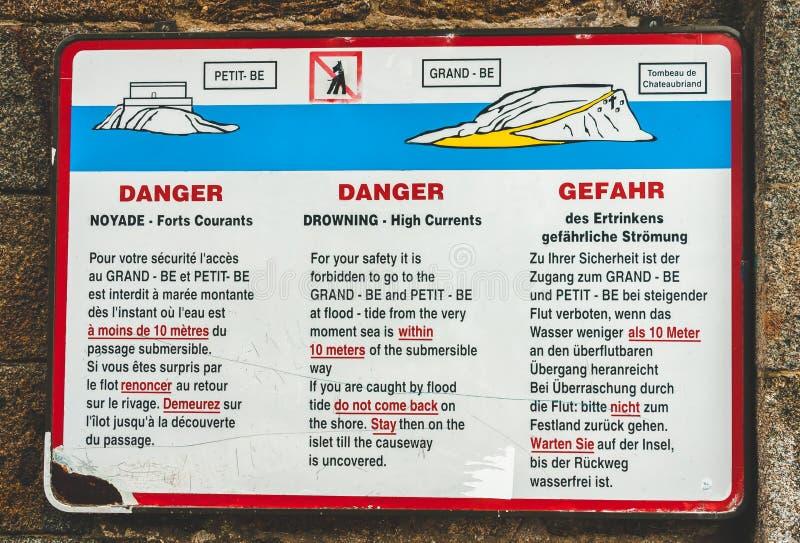 高潮流危险标志 库存图片