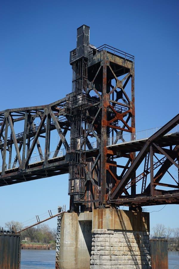 高的火车叉架桥 免版税库存图片