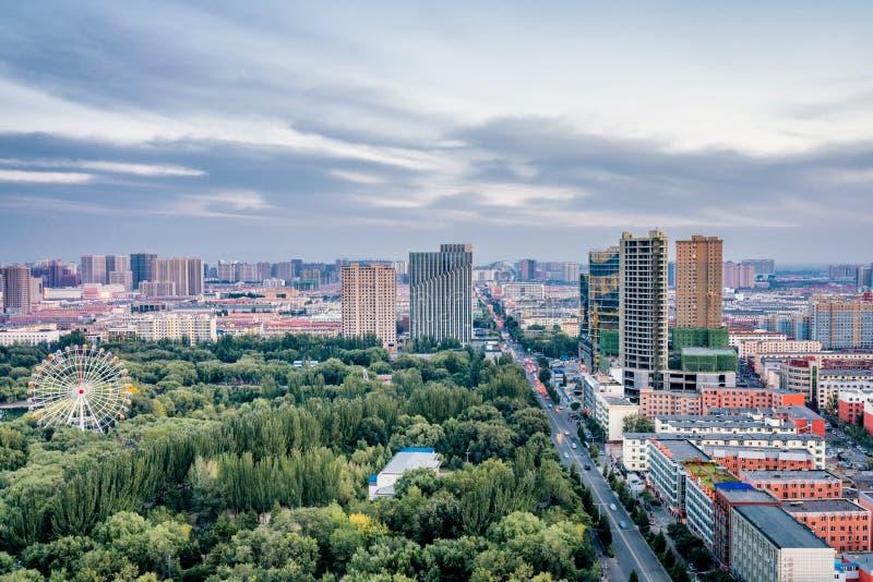 高看法弗累斯大转轮qingcheng公园,呼和浩特,内蒙古,中国 库存照片