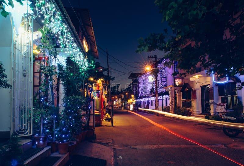 高知装饰的街道在晚上,在圣诞节时间 免版税图库摄影