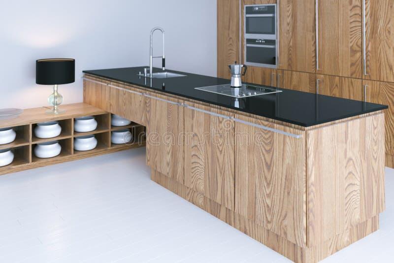 高科技与白色难倒的3d的厨房室内设计回报 免版税库存图片